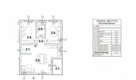Stanovanje Pula, okolica, novogradnja - 1. nadstropje, 75,47m2